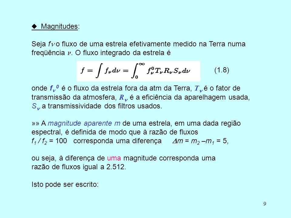  Magnitudes: Seja f o fluxo de uma estrela efetivamente medido na Terra numa freqüência . O fluxo integrado da estrela é.