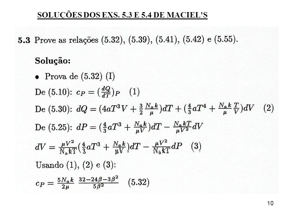 SOLUÇÕES DOS EXS. 5.3 E 5.4 DE MACIEL S