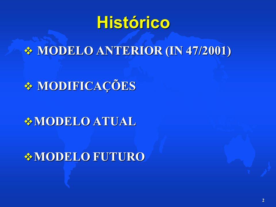 Histórico MODELO ANTERIOR (IN 47/2001) MODIFICAÇÕES MODELO ATUAL