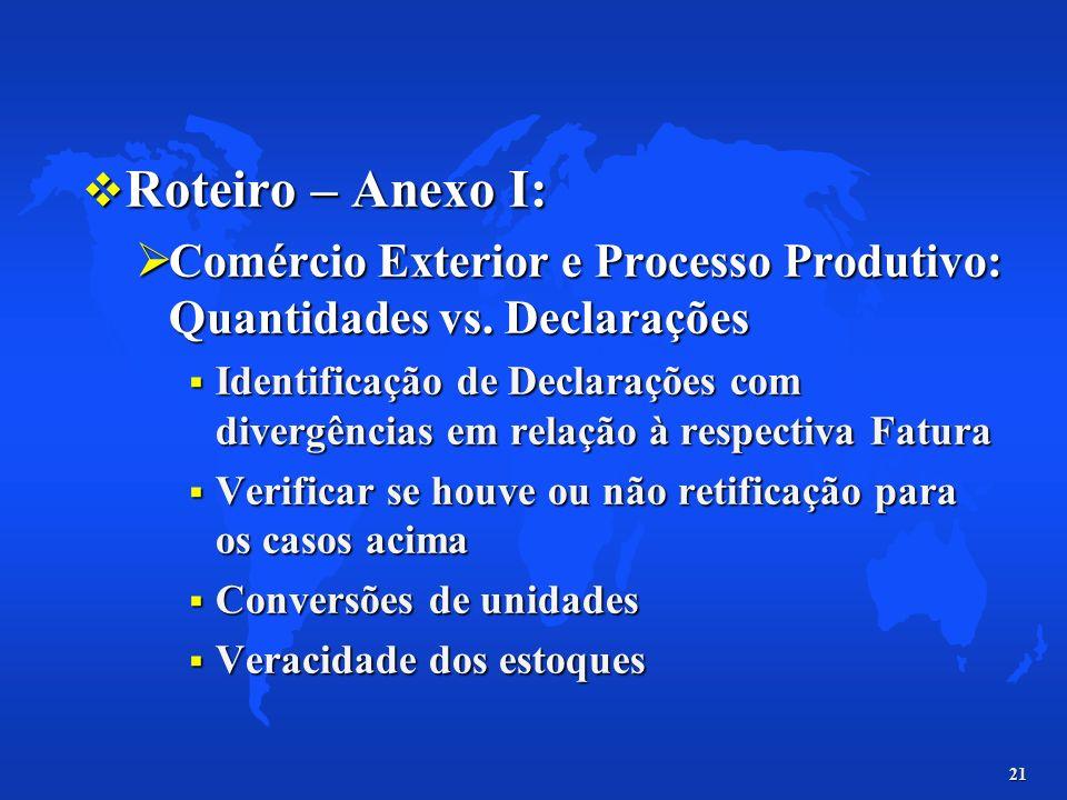 Roteiro – Anexo I: Comércio Exterior e Processo Produtivo: Quantidades vs. Declarações.