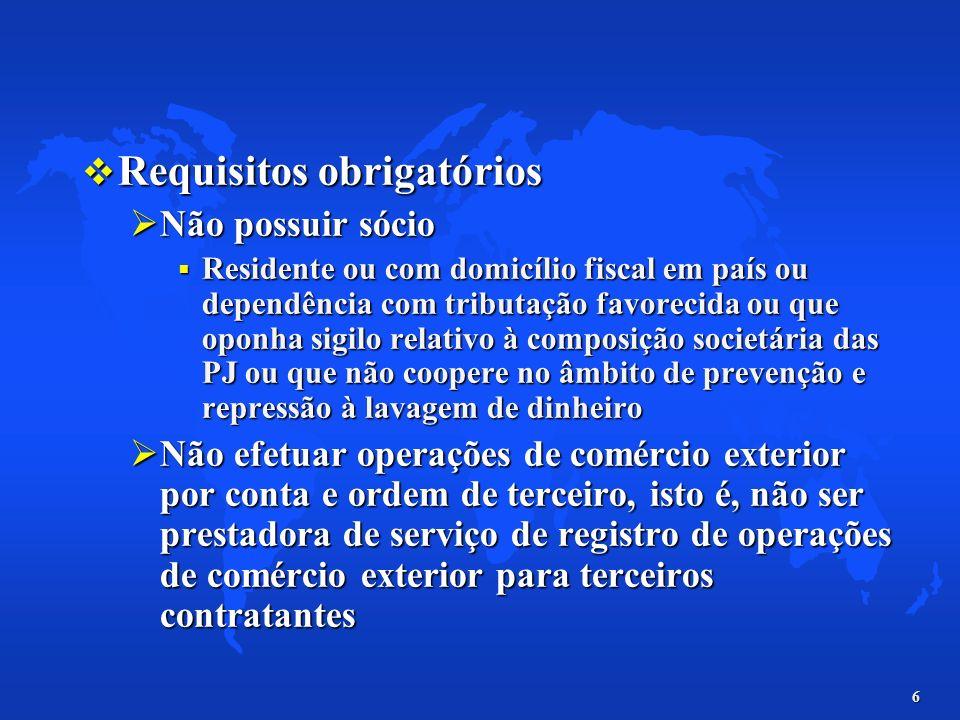 Requisitos obrigatórios