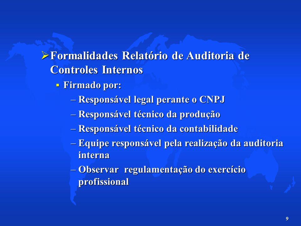 Formalidades Relatório de Auditoria de Controles Internos