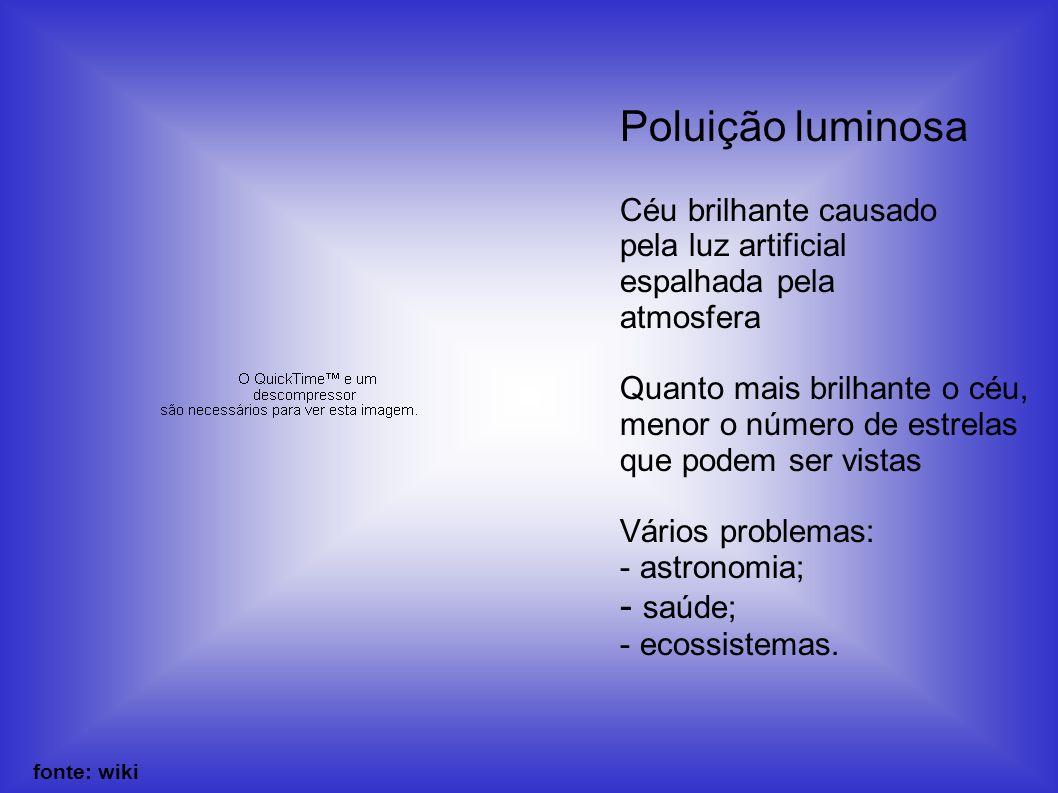 Poluição luminosa saúde; Céu brilhante causado pela luz artificial