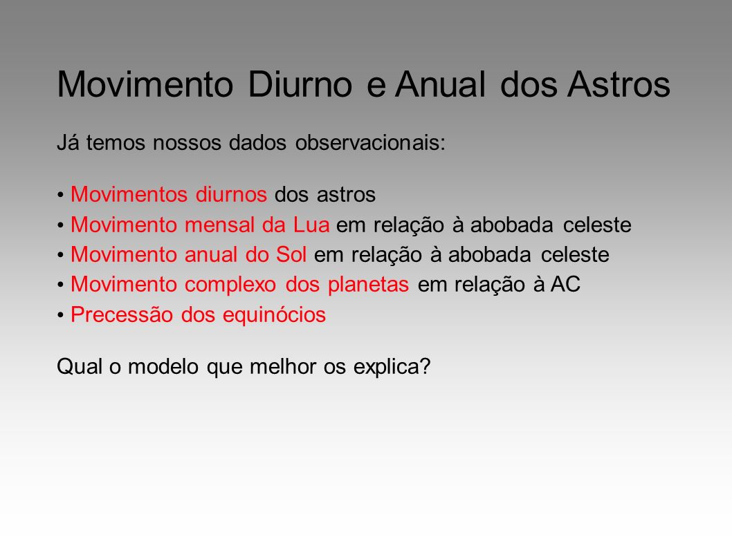 Movimento Diurno e Anual dos Astros