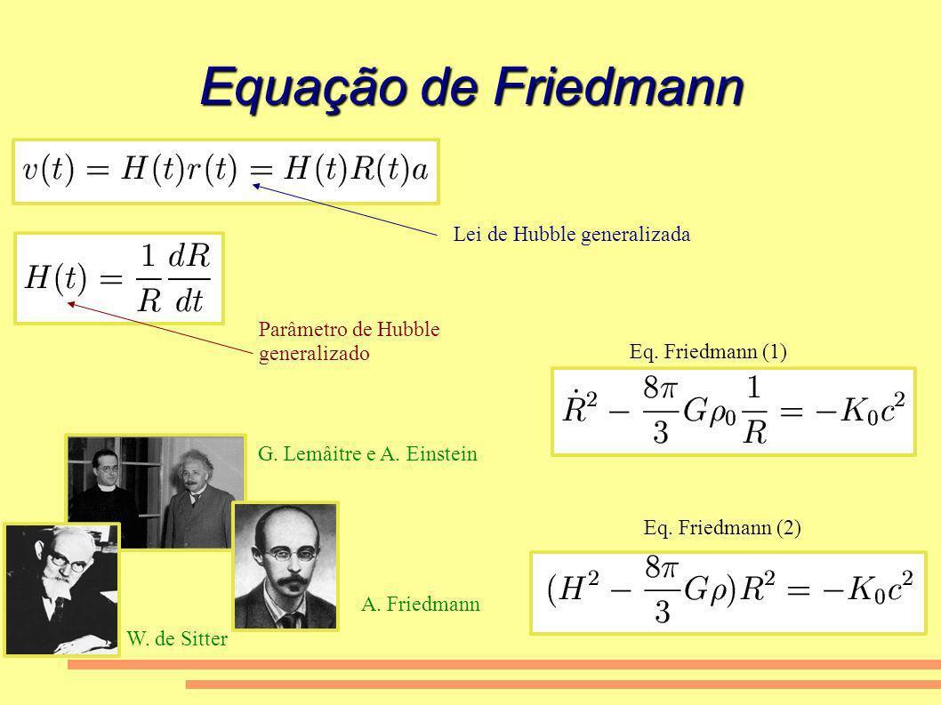Equação de Friedmann Lei de Hubble generalizada Parâmetro de Hubble