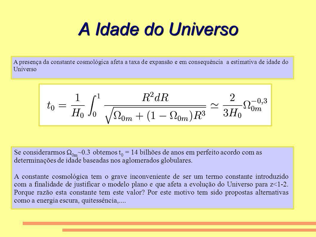 A Idade do Universo A presença da constante cosmológica afeta a taxa de expansão e em consequência a estimativa de idade do Universo.