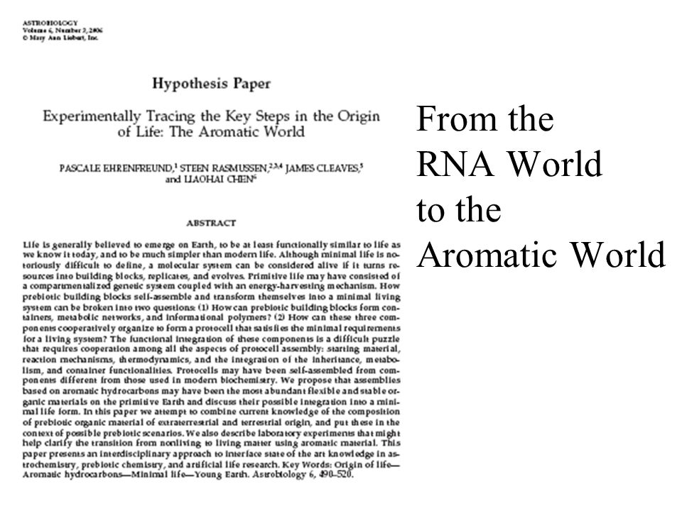 From the RNA World to the Aromatic World