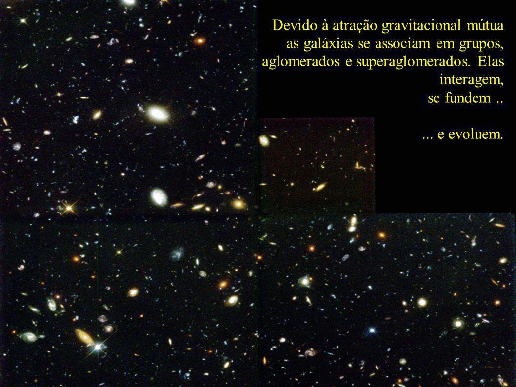 Devido à atração gravitacional mútua as galáxias se associam em grupos, aglomerados e superaglomerados. Elas interagem,