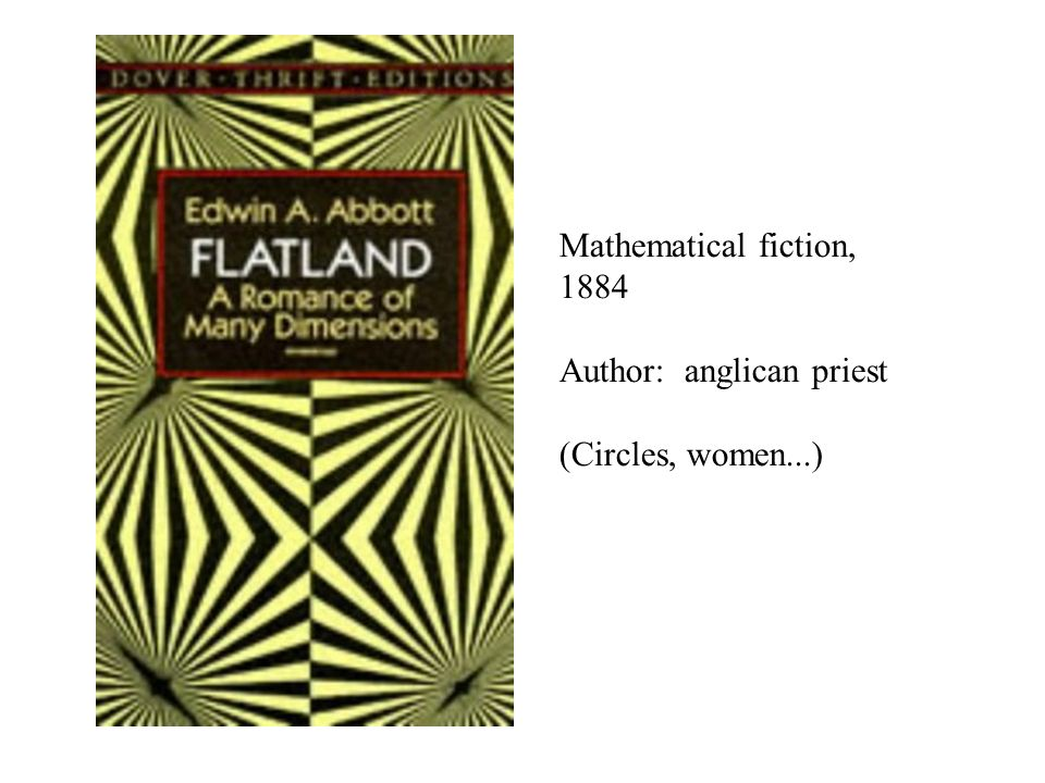 Mathematical fiction, 1884 Author: anglican priest (Circles, women...)