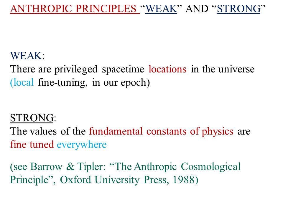 ANTHROPIC PRINCIPLES WEAK AND STRONG