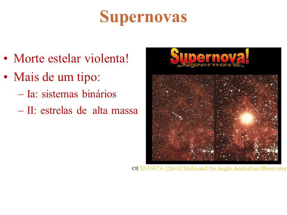 Supernovas Morte estelar violenta! Mais de um tipo: