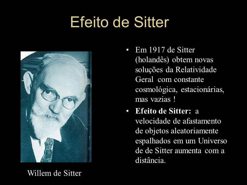 Efeito de Sitter Em 1917 de Sitter (holandês) obtem novas soluções da Relatividade Geral com constante cosmológica, estacionárias, mas vazias !