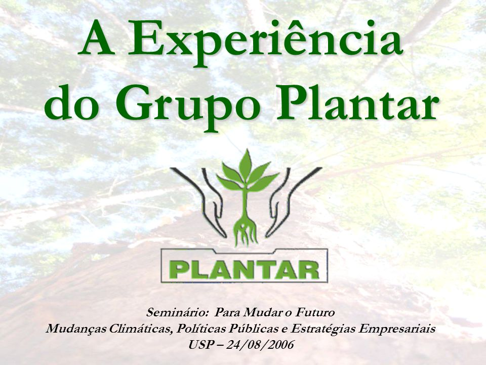 A Experiência do Grupo Plantar