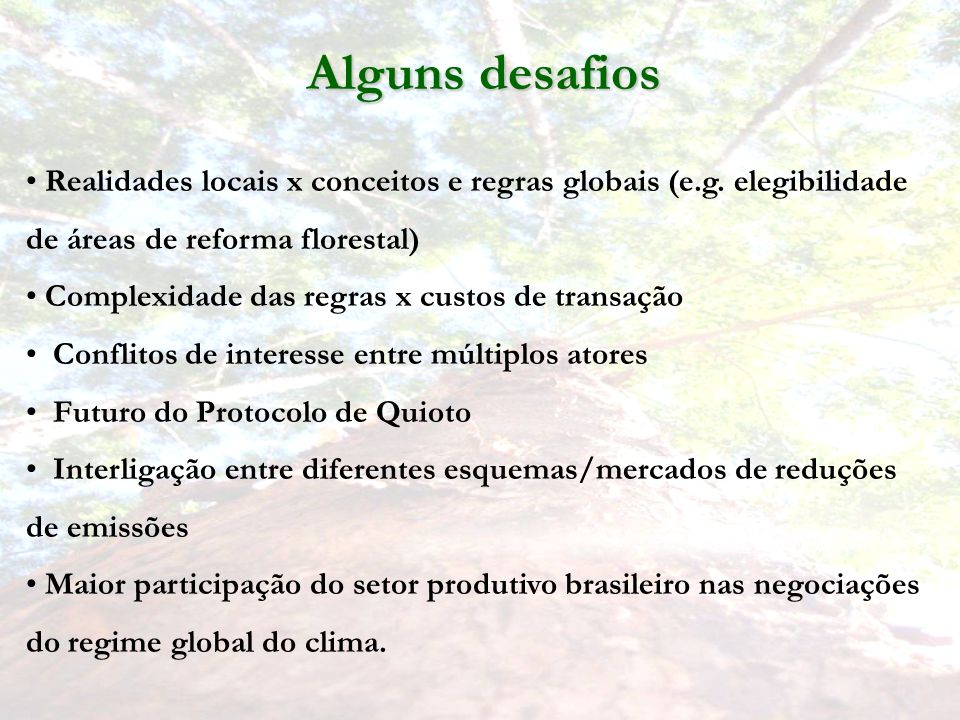 Alguns desafios Realidades locais x conceitos e regras globais (e.g. elegibilidade de áreas de reforma florestal)