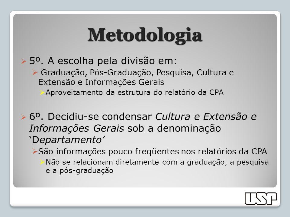 Metodologia 5º. A escolha pela divisão em: