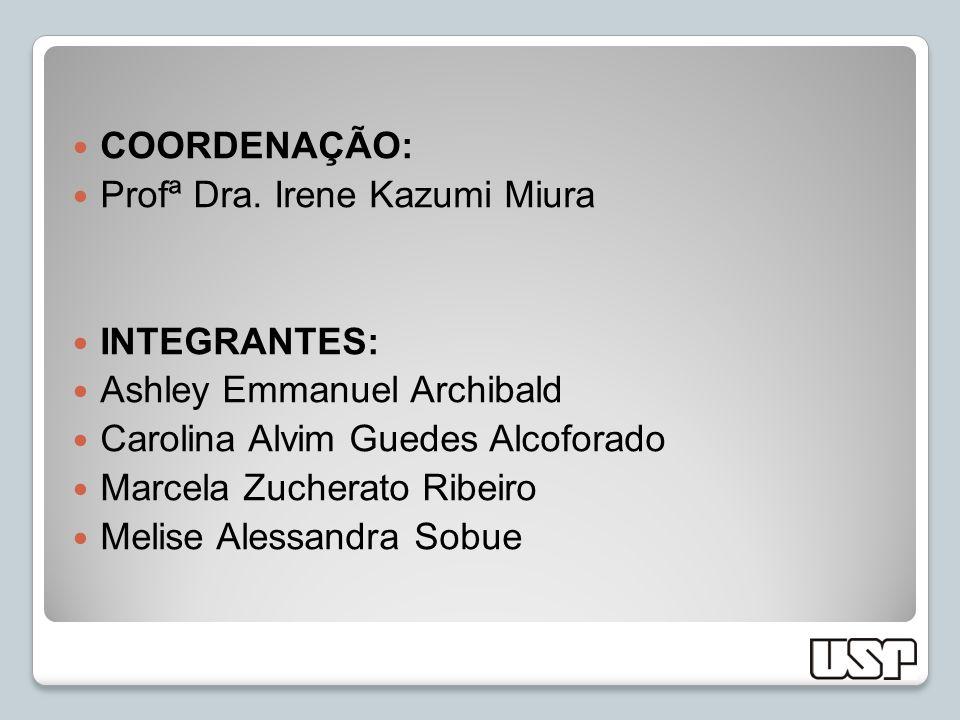 COORDENAÇÃO: Profª Dra. Irene Kazumi Miura. INTEGRANTES: Ashley Emmanuel Archibald. Carolina Alvim Guedes Alcoforado.