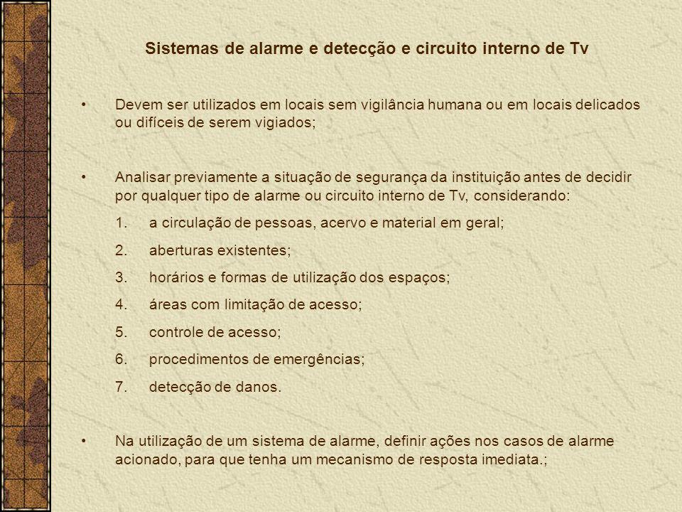 Sistemas de alarme e detecção e circuito interno de Tv