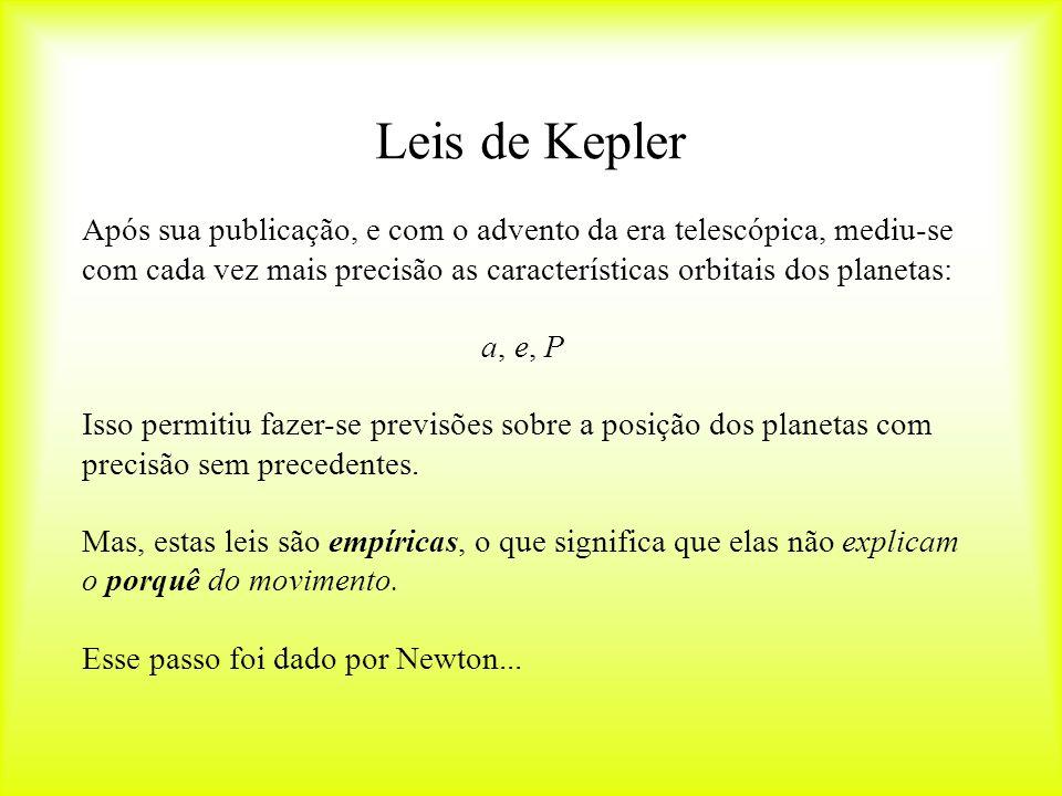 Leis de Kepler Após sua publicação, e com o advento da era telescópica, mediu-se com cada vez mais precisão as características orbitais dos planetas: