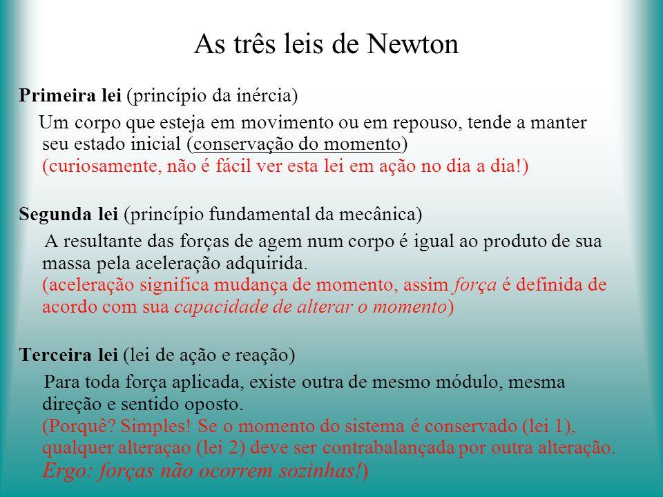 As três leis de Newton Primeira lei (princípio da inércia)