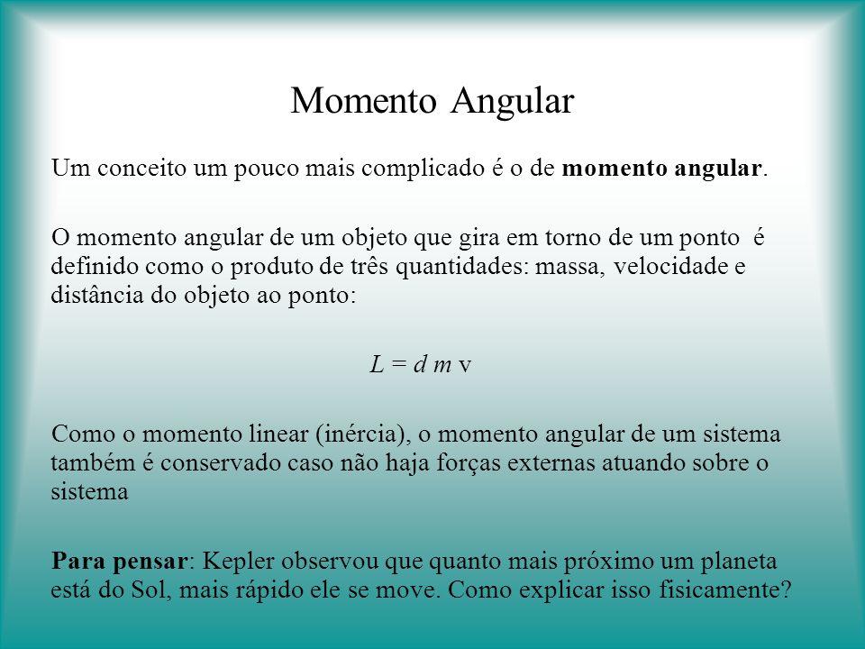 Momento Angular Um conceito um pouco mais complicado é o de momento angular.