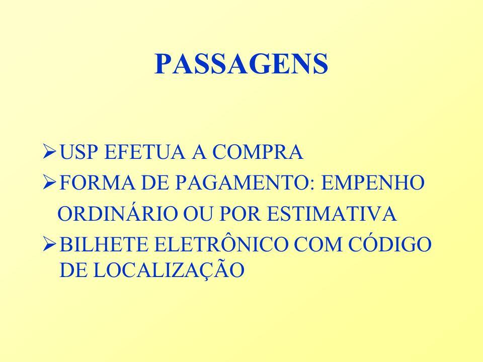 PASSAGENS USP EFETUA A COMPRA FORMA DE PAGAMENTO: EMPENHO