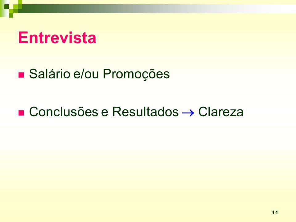 Entrevista Salário e/ou Promoções Conclusões e Resultados  Clareza