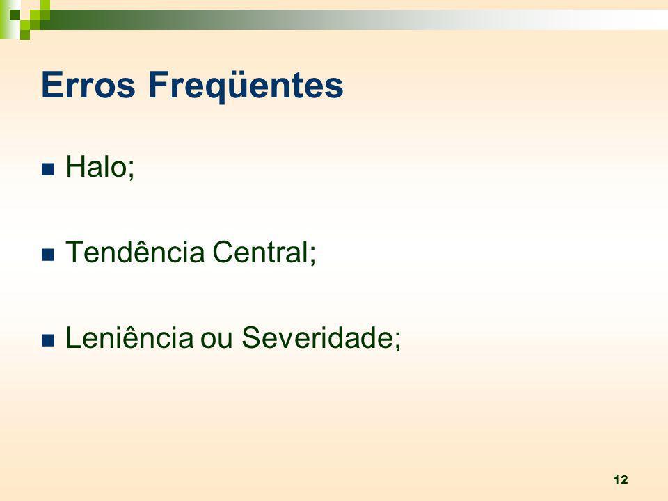 Erros Freqüentes Halo; Tendência Central; Leniência ou Severidade;