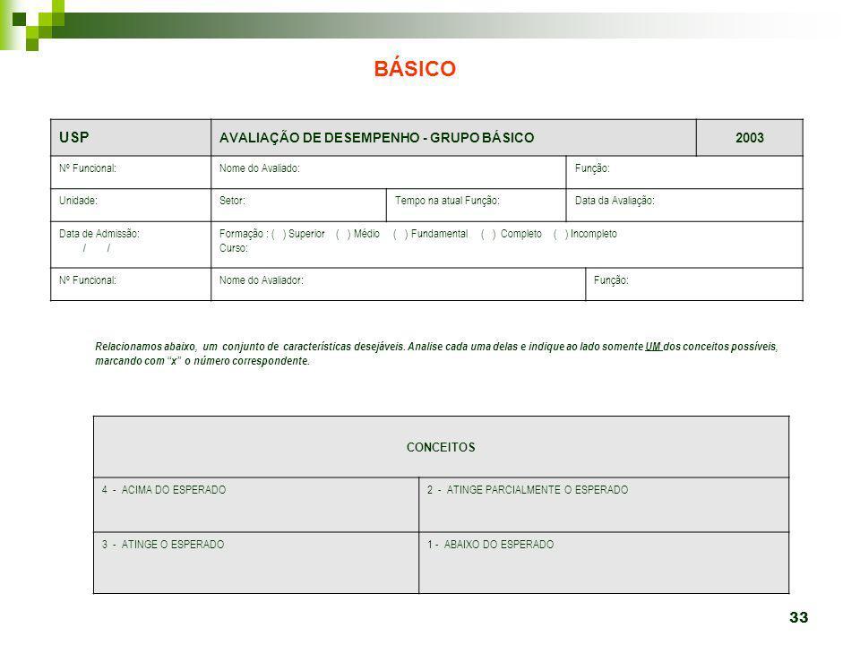 BÁSICO USP AVALIAÇÃO DE DESEMPENHO - GRUPO BÁSICO 2003 Nº Funcional: