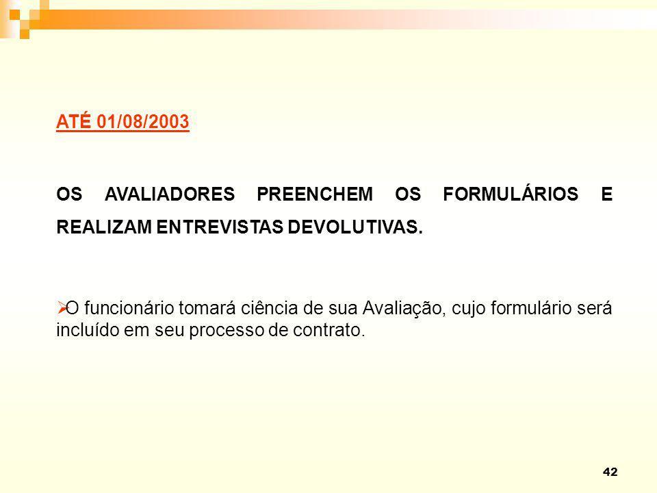 ATÉ 01/08/2003 OS AVALIADORES PREENCHEM OS FORMULÁRIOS E REALIZAM ENTREVISTAS DEVOLUTIVAS.