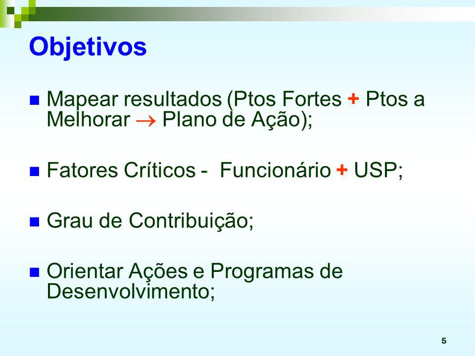 Objetivos Mapear resultados (Ptos Fortes + Ptos a Melhorar  Plano de Ação); Fatores Críticos - Funcionário + USP;