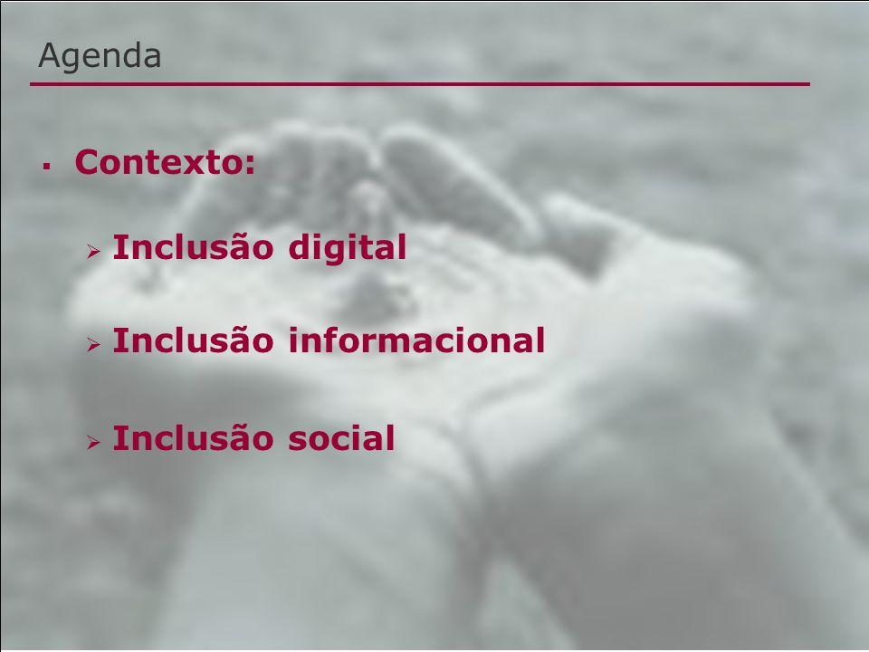 Agenda Contexto: Inclusão digital Inclusão informacional Inclusão social