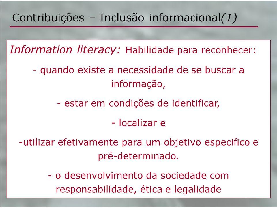 Contribuições – Inclusão informacional(1)