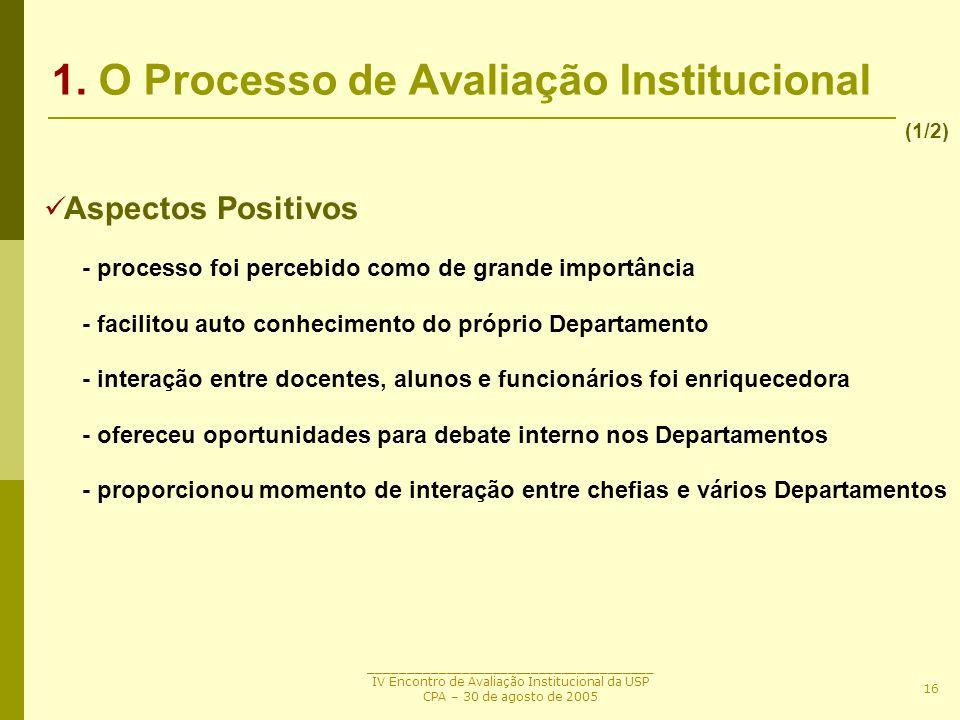 1. O Processo de Avaliação Institucional