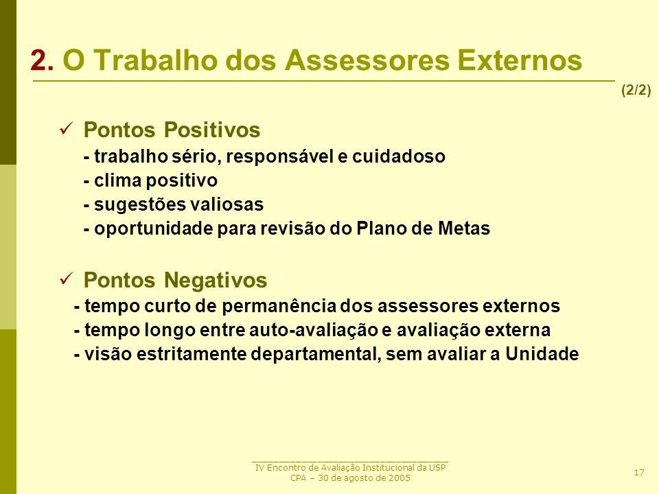 2. O Trabalho dos Assessores Externos