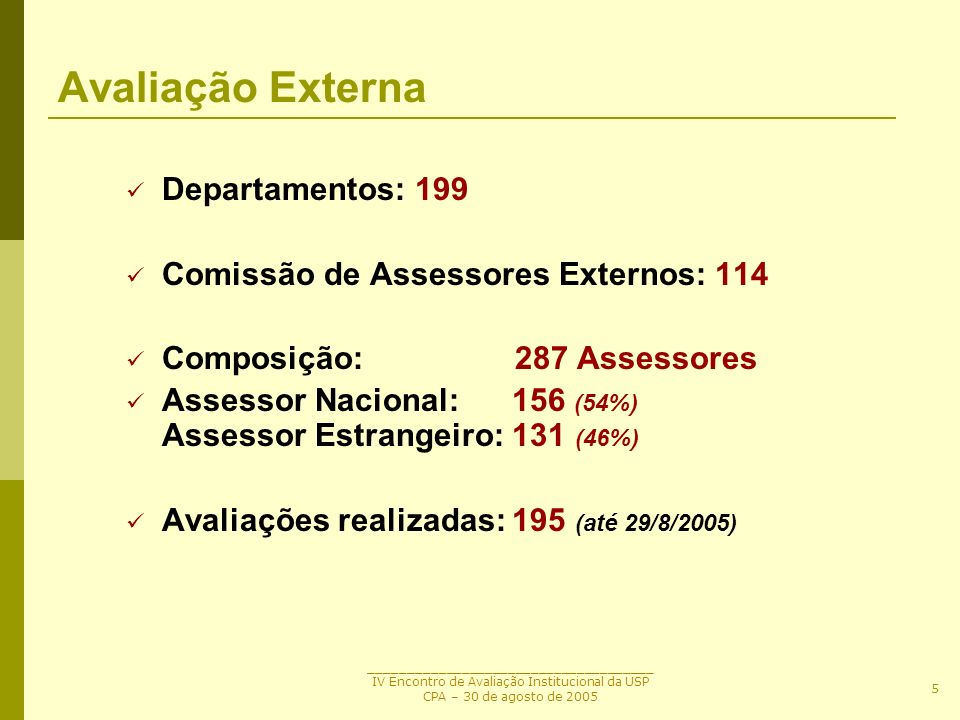 Avaliação Externa Departamentos: 199