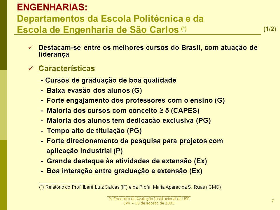 ENGENHARIAS: Departamentos da Escola Politécnica e da Escola de Engenharia de São Carlos (*)