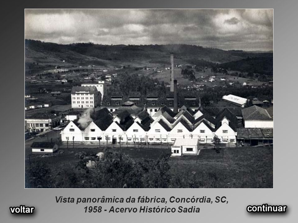 Vista panorâmica da fábrica, Concórdia, SC, 1958 - Acervo Histórico Sadia