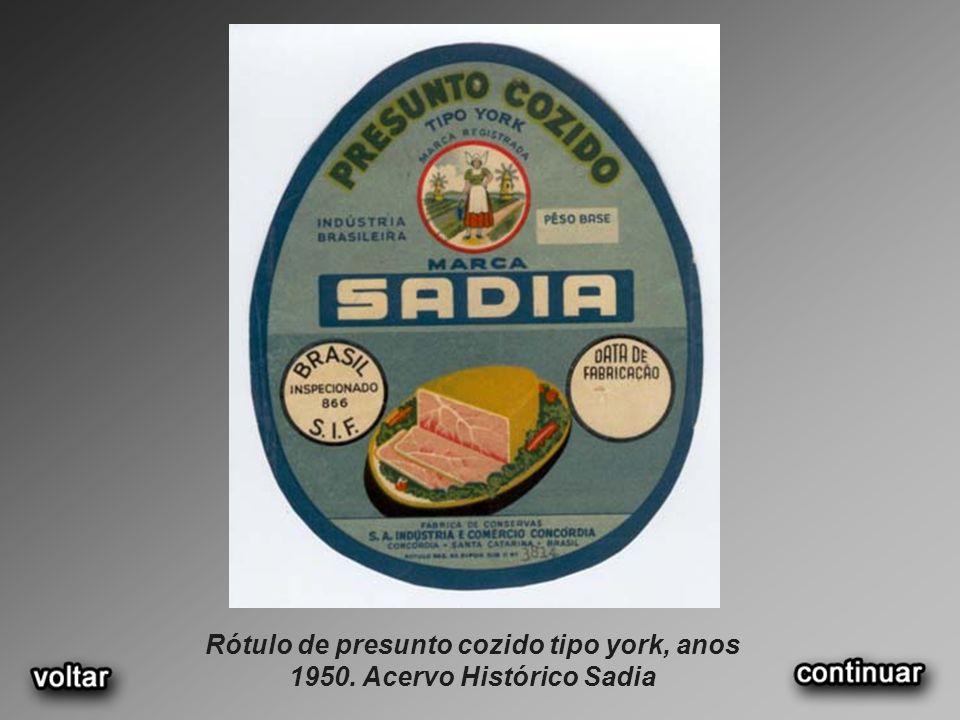 Rótulo de presunto cozido tipo york, anos 1950. Acervo Histórico Sadia