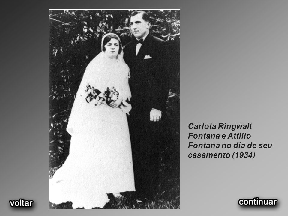 Carlota Ringwalt Fontana e Attilio Fontana no dia de seu casamento (1934)