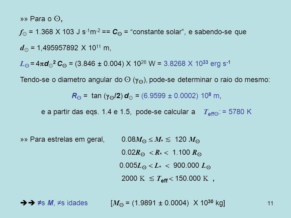 e a partir das eqs. 1.4 e 1.5, pode-se calcular a Teff: = 5780 K