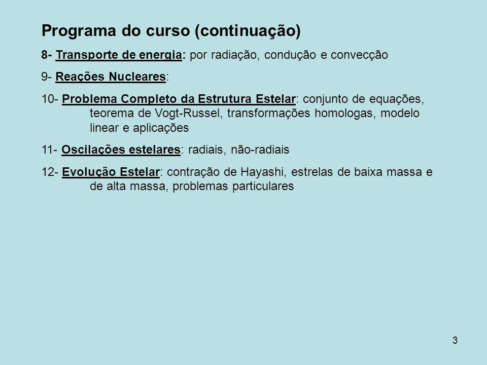 Programa do curso (continuação)