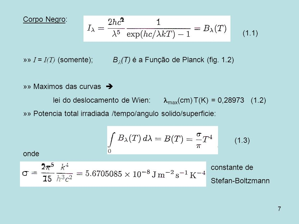 Corpo Negro:(1.1) »» I = I(T) (somente); B(T) é a Função de Planck (fig. 1.2) »» Maximos das curvas 