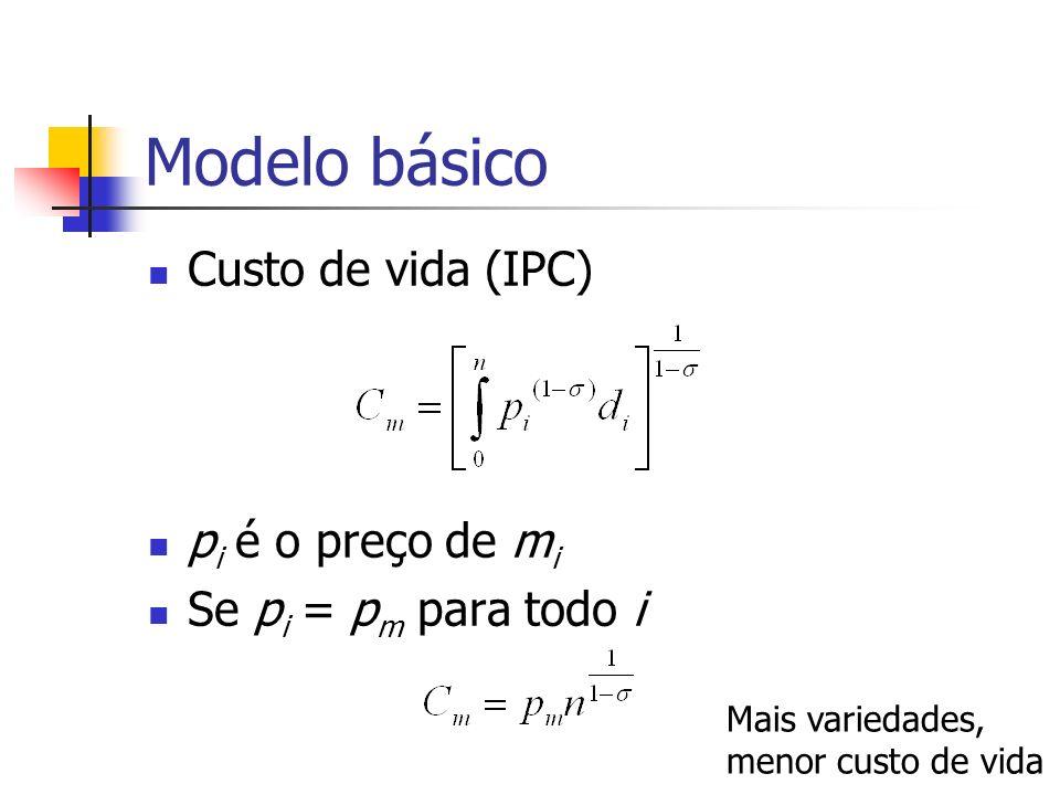Modelo básico Custo de vida (IPC) pi é o preço de mi