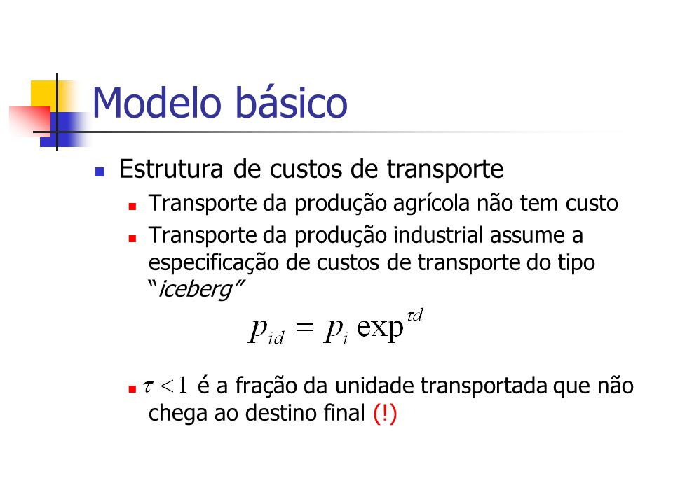 Modelo básico Estrutura de custos de transporte