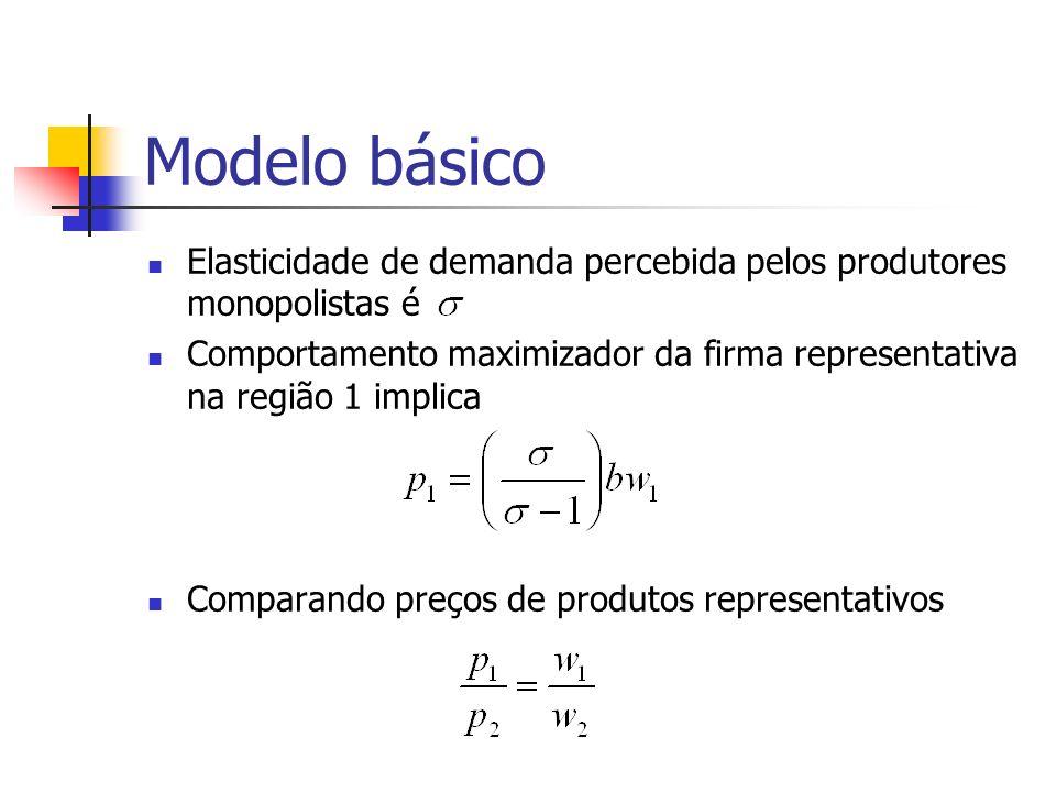 Modelo básico Elasticidade de demanda percebida pelos produtores monopolistas é.