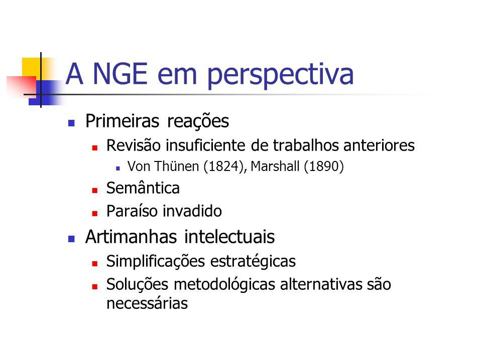 A NGE em perspectiva Primeiras reações Artimanhas intelectuais