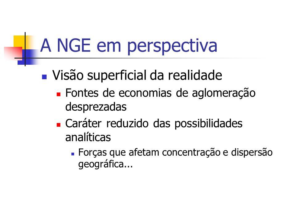 A NGE em perspectiva Visão superficial da realidade