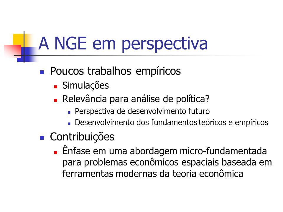 A NGE em perspectiva Poucos trabalhos empíricos Contribuições