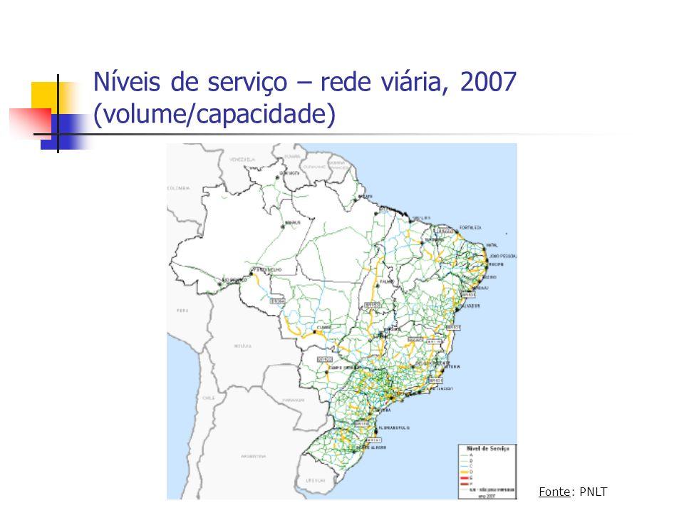Níveis de serviço – rede viária, 2007 (volume/capacidade)