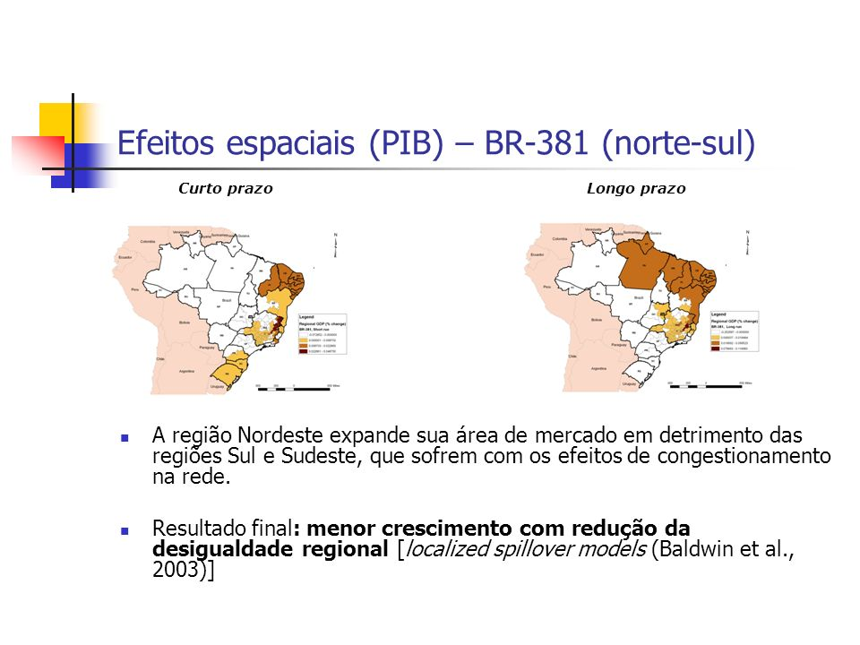 Efeitos espaciais (PIB) – BR-381 (norte-sul)